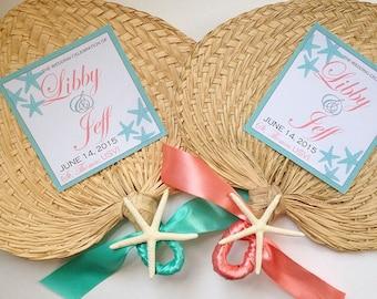 Woven Hand Fan, Straw Fan, Beach Wedding Decorations, Palm Leaf Hand Fans with Starfish, Raffia Fans,Wedding Fans