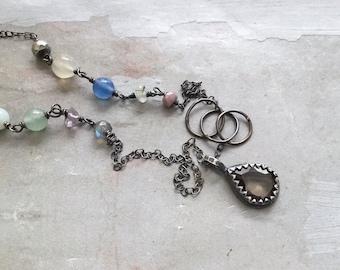 Smokey Quartz Necklace - Multi Stone Necklace - Bezel Pendant - Oxidized Sterling Silver Link Necklace - Dainty Necklace
