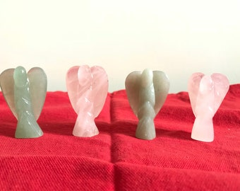 Rose quartz and green aventurian angels
