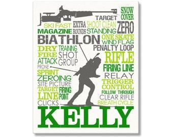 Biathlon Typography Poster, Skiing & Rifle Wall Art, Girl's Biathlon Art, Biathlon Gift, Biathlete Gift, Biathlete Coach Gift, Biathlon Gift
