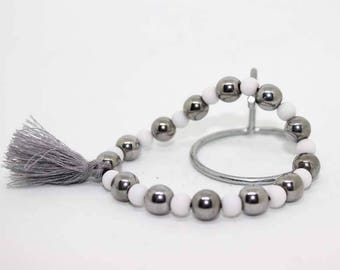 silver plated magnetic hematite bracelet