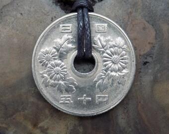 Yen Necklace, 50 Yen Coin, Yen Coin, Anime, Manga, Otaku, Japanese Culture, Japan Coin, Silver Coin Necklace.