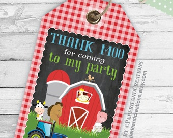 Farm Animal Party Favors - Thank you tags - Thank You Label - Barnyard - Presents Tag - Tractor Farm Tag - Personalized Tag - Printable