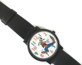Vintage Goofy Disney Lorus Quartz Watch Mid Sized With Black Leather Strap, Vintage Googy Hour & Minute Hands Disney Watch Made in Japan