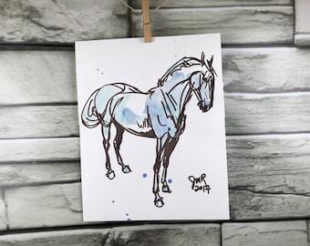 Cheval art original à l'encre et aquarelle croquis - chasseur de couleur marron et bleu