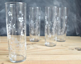 Libbey White Cherry Blossom Glasses, Set of Four Libbey Tumblers with Small White Flower Pattern