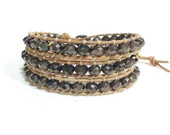 triple wrap bracelet with gunmetal crystals