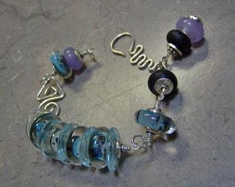 Lampwork Sterling Silver Bracelet-Lampwork Artisan Bracelet in Sterling Silver-Art Beads-Boro Lampwork Beads-Wire Wrapped - SRAJD