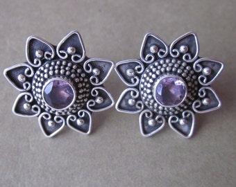 Balinese Sterling Silver amethyst stud Earrings / Granulation handmade jewelry / silver 925