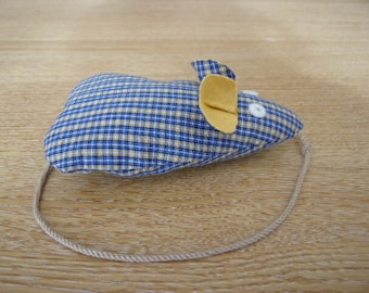 Catnip Mouse/ Mice Cat Toy Handmade Blue Checked