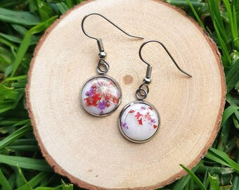Red and purple real flower and resin drop dangle earrings. Hypoallergenic surgical stainless steel hooks