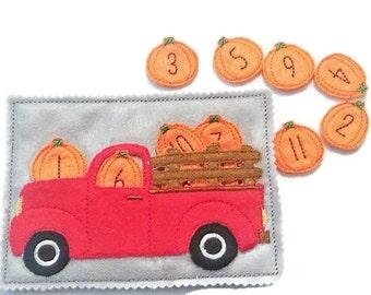 Felt quiet book - Toddler quiet book - Quiet book page - Toddler busy book - Busy book - Felt busy book - Pumpkin truck numbers 1-12 #QB56