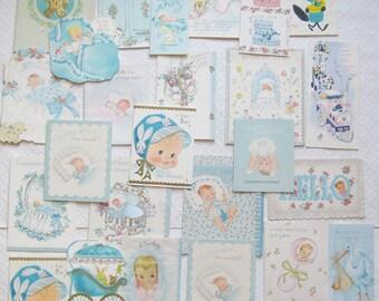 Lot of 25 Vintage Baby Boy Congratulations Cards