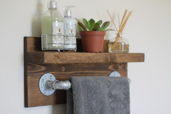 Small Rustic Industrial Towel Rack, Bathroom Shelf, Rustic Home Decor, Industrial Shelf, Rustic Wooden Shelf, Industrial Decor, Towel Rack