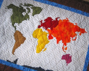 OUR WORLD Patchwork Map Quilt Pattern Full Sized Templates and Clear Instructions from Quilts by Elena