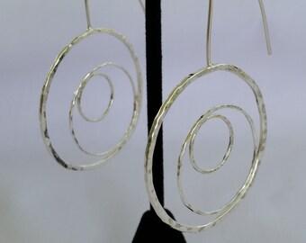Circular textured sterling silver hoop earrings