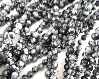 Snowflake Obsidian Stone Beads G1041