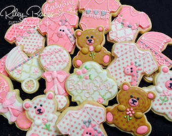 Baby Shower Cookies, baby shower favors, onesie cookies, baby shower