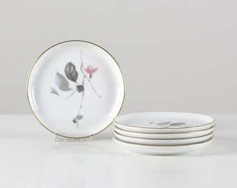 Rosenthal collection plate, little porcelain plate, German china, floral pattern, gray rose