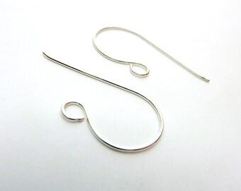 Sterling Silver Large Loop  Ear Wires -  Choose Your Gauge - 1 Pair