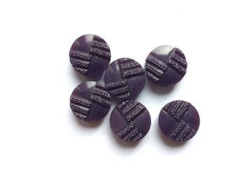 6 Purple Glass Buttons, Vintage French Buttons