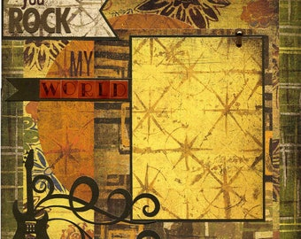 You Rock My World - 12x12 Premade Scrapbook Page