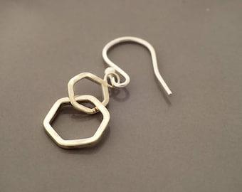 Sterling Silver Double Hexagon Drop Earrings