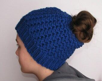 Messy Bun Hat, Ponytail Hat, royal blue