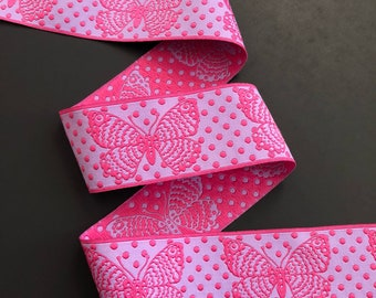 Butterfly woven jacquard embroidered ribbon trim 38mm 1.5 inches wide free domestic shipping