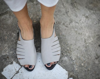 SALE Leather Sandals, Grey Strappy Sandals, Summer Shoes, Handmade Sandals, Grey Slingbacks, Greek Sandals, Summer Flats, Grey Sandals, Joli