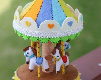 New Felt Fabric Handmade DIY Package Rotary Horse Music Box Sewing Handwork Kid Toy Home Decoration Needle Felt Pack