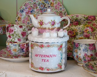 Altered Art Bottle Glass Tea bag Container, Small Glass Teabag Holder, Mini Tea bag Container, Elegant Tea bag Container, Hostess Gift Idea