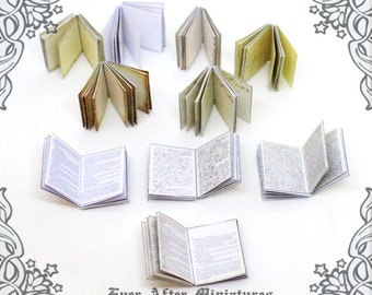 INSIDE PAGES for Miniature Book Cover 1:12 – 10 Different Styles of Inside Pages for Making Dollhouse Miniature Book – Printable DOWNLOAD