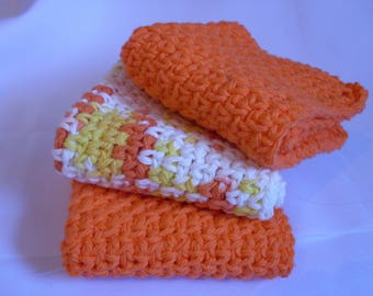 Crocheted Dish Cloths, Cotton Dish Cloths Set of 3