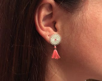 Print in silver and pink tassel earrings