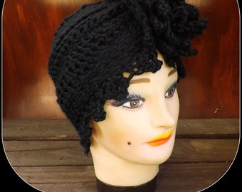 Black Crochet Hat Womens Hat Trendy, Womens Crochet Hat, Womens Turban Hat, Crochet Flower, Black Hat, Alejandra Turban Hat, Crochet Hat