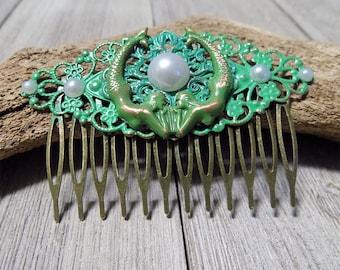hand painted green patina mermaid nautical beachy filligree hair comb