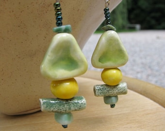 Green Forest Earrings Handmade Clay Beads