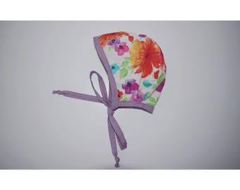 0-3m Reversible floral bonnet, baby bonnet, colorful bonnet, spring bonnet