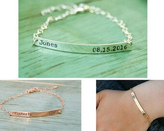 Personalized Silver Name Bracelet • Easter Basket Gift Gold Name Bracelet Custom Date Bracelet • Long Bar Date Name Bar Bridesmaid Gift