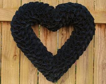 """Gothic Wedding Decor, Steampunk Wedding, Halloween Wedding, Black Felt Heart Wreath 17"""", Anti Valentine Gift, Valentine's Day Wreath"""