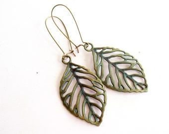 Verdigris Earrings, Leaf Earrings, Choice of Style, Antiqued Brass Filigree Leaf Earrings, Brass Leaf Earrings, Boho Earrings, Fall Jewelry