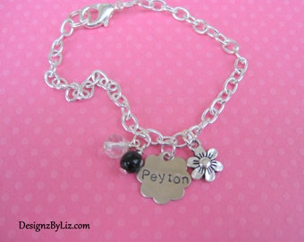 The Peyton, bridesmaid/flower girl Charm/ID Bracelet