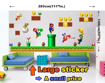 Super Mario Wall Sticker Decor Bros Removable Decal Kids Home Decals Vinyl Art Nursery Nintendo Luigi Stickers Room Brothers Giant