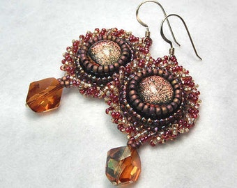Bead Embroidery Earrings, Gold Filled Pierced Earwires, Beaded Earrings and Crystal - Copper Nights