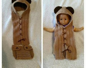 Crochet newborn Ewok photo prop, crochet scoodie and diaper cover, newborn Ewok photo prop, star wars photo prop, crochet bear photo prop