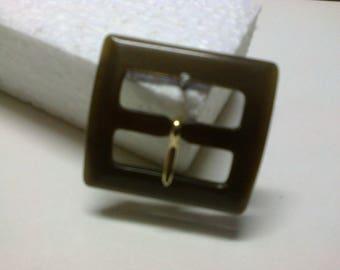 Medium brown square buckle plastic passage 2.5 cm * BO151 *.