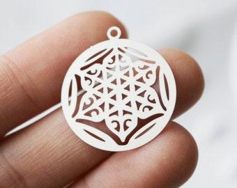 Set of 4, Flower of Life Charm, Round Silver Charm, Jewelry Charm, Round Jewelry Charm, Jewelry Charms, Flower Pendant, Flower Charm,