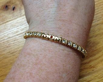 Vintage Goldtone White Gemstone MOM Design Bracelet, Length 8.25''