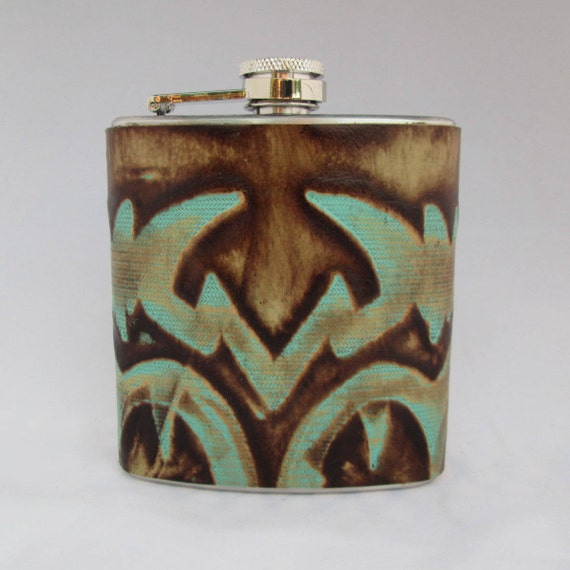 Every Day Collection Flask with Turquoise and Brown Embossing
